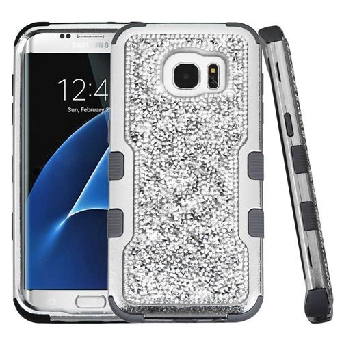 Insten Hard Hybrid Bling Silicone Case For Samsung Galaxy S7 Edge - Silver/Black