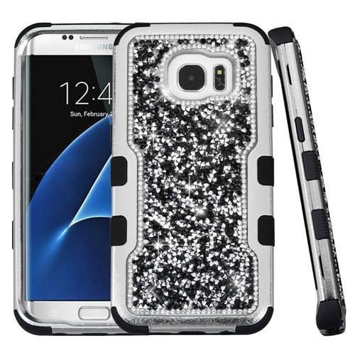 Insten Hard Hybrid Diamante Silicone Cover Case For Samsung Galaxy S7 Edge - Black