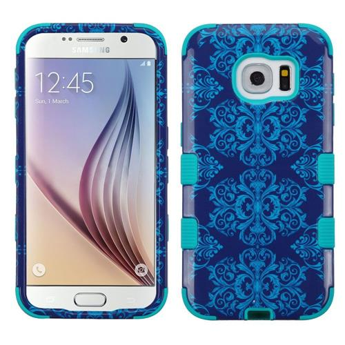 Insten Tuff Damask Hard Dual Layer Rubber Silicone Cover Case For Samsung Galaxy S6 - Blue