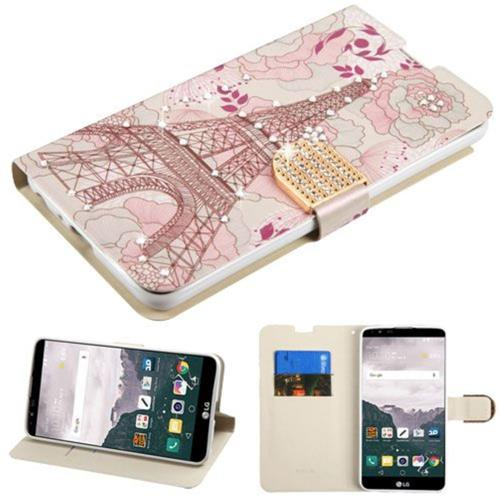 Insten Eiffel Tower Folio Leather Fabric Case w/stand/card holder/Diamond For LG Stylo 2 Plus - Pink