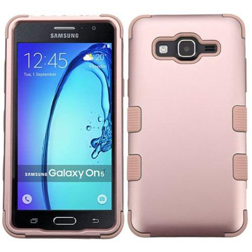 Insten Tuff Hard Hybrid Rubber Silicone Case For Samsung Galaxy On5 - Rose Gold
