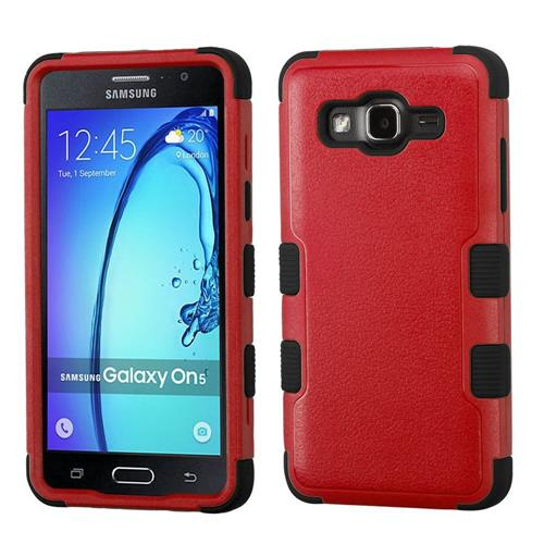 Insten Tuff Hard Dual Layer Rubberized Silicone Cover Case For Samsung Galaxy On5 - Red/Black