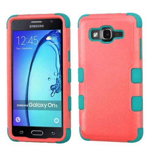 Insten Tuff Hard Hybrid Rubber Silicone Cover Case For Samsung Galaxy On5 - Red/Teal
