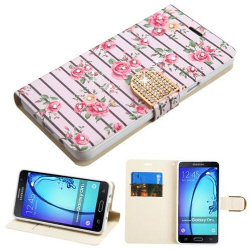 Insten Roses Flip Leather Fabric Case w/stand/card holder/Diamond For Samsung Galaxy On5, Pink/White