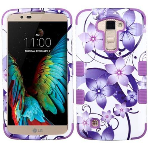 Insten Hibiscus Flower Romance Hard Rubber Silicone Case For LG K10 (2016)/Premier LTE, Purple/White