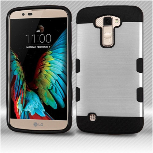 Insten Hard TPU Case For LG K10 (2016)/Premier LTE - Silver/Black