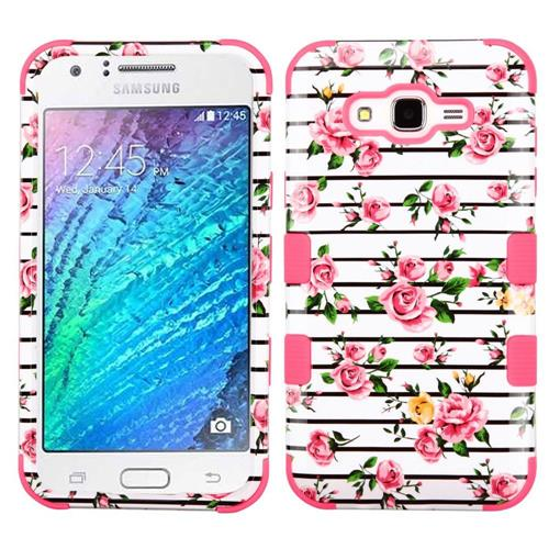 Insten Tuff Roses Hard Hybrid Rubber Silicone Case For Samsung Galaxy J7 (2015) - Pink/White