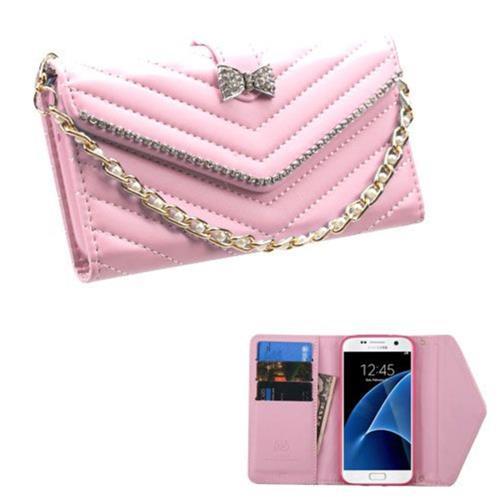 Insten Folio Leather Fabric Case Bracelet w/card holder For Samsung Galaxy S7 - Pink