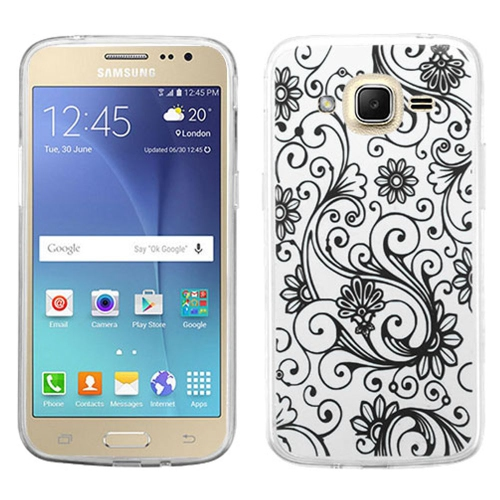 Insten Fitted Soft Shell Case for Samsung Galaxy J2 - Black;Clear