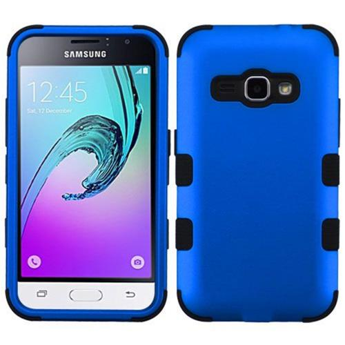 Insten Hard Hybrid Rubberized Silicone Cover Case For Samsung Galaxy Amp 2/J1 (2016), Blue/Black