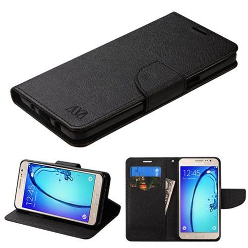 Insten Folio Leather Fabric Case w/stand/card holder For Samsung Galaxy On5 - Black