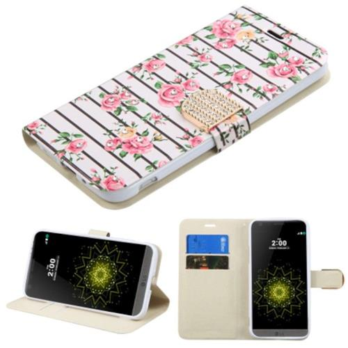 Insten Fresh Roses Folio Leather Fabric Cover Case w/stand/card holder/Diamond For LG G5, Pink/White