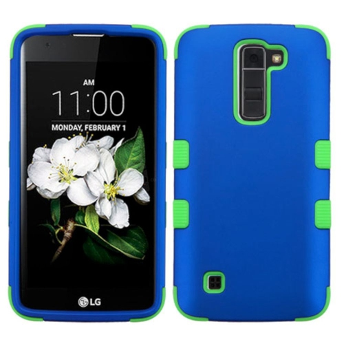 Insten Hard Dual Layer Rubber Coated Silicone Cover Case For LG Escape 3/K7 Tribute 5 - Blue/Green