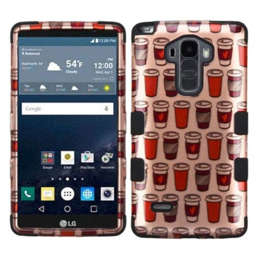 Insten Give Me Coffee Hard Hybrid Silicone Case For LG G Stylo LS770/G Vista 2, Rose Gold/Black