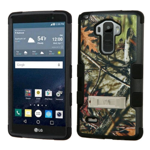 Insten Oak Leaves Hard Rubberized Silicone Case w/stand For LG G Stylo LS770/G Vista 2, Green/Black