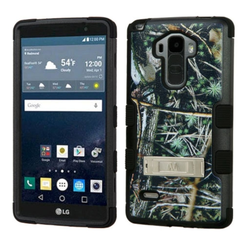 Insten Cedar Tree Hard Silicone Cover Case w/stand For LG G Stylo LS770/G Vista 2, Green/Black