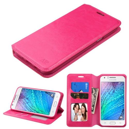 Insten Swivel Flip Case w/stand/card slot/Photo Display For Samsung Galaxy J7 (2015), Hot Pink