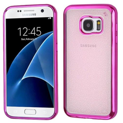 Insten TPU Glitter Cover Case For Samsung Galaxy S7 - Hot Pink/Clear