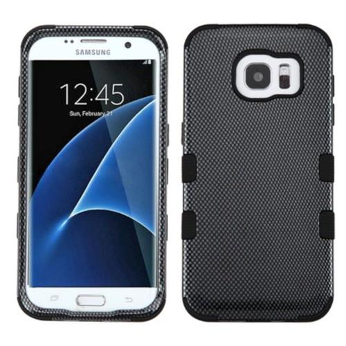 Insten Carbon Fiber Hard Hybrid Rubberized Silicone Cover Case For Samsung Galaxy S7 Edge, Black