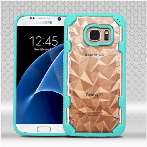 Insten Hard TPU Cover Case For Samsung Galaxy S7 - Clear/Teal
