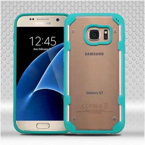 Insten Polygon Hard TPU Cover Case For Samsung Galaxy S7 - Clear/Teal