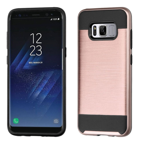 Insten Hard Dual Layer Brushed TPU Cover Case For Samsung Galaxy S8 Plus - Rose Gold/Black