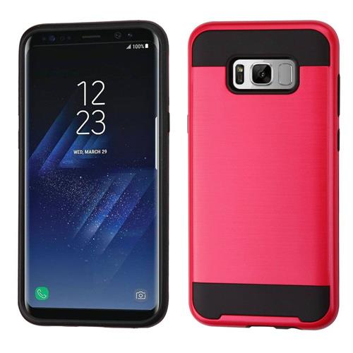 Insten Hard Hybrid Brushed TPU Case For Samsung Galaxy S8 Plus - Red/Black