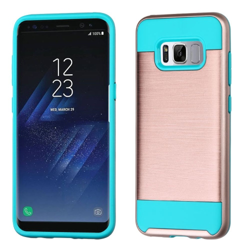 Insten Hard Hybrid Brushed TPU Cover Case For Samsung Galaxy S8 Plus - Rose Gold/Blue