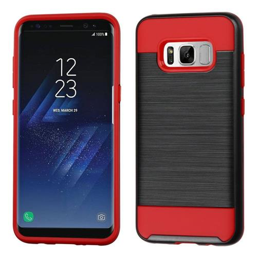 Insten Hard Dual Layer Brushed TPU Cover Case For Samsung Galaxy S8 Plus - Black/Red