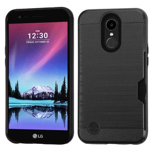 Insten Hard Brushed TPU Cover Case w/card holder For LG Harmony/K10 (2017)/K20 Plus/K20 V, Black