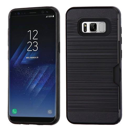 Insten Hard Hybrid Brushed TPU Case w/card holder For Samsung Galaxy S8 - Black