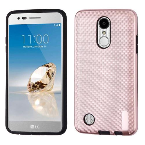 Insten Hard Mat Weave Case For LG Aristo/Fortune/K4 (2017)/K8 (2017)/LV3/Phoenix 3, Rose Gold/Black