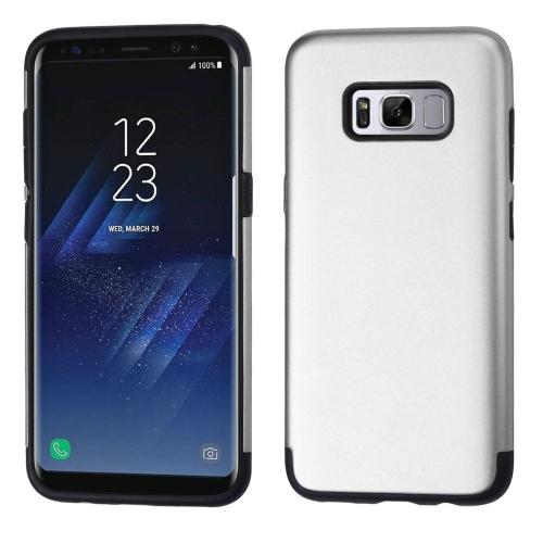 Insten Fitted Soft Shell Case for Samsung Galaxy S8 - Black; Silver