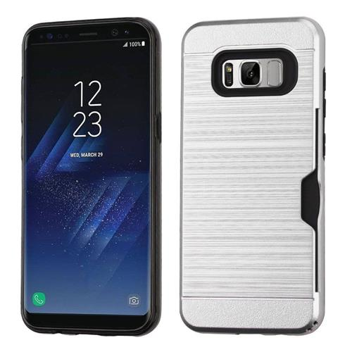 Insten Hard Dual Layer Brushed TPU Case w/card holder For Samsung Galaxy S8 Plus - Silver/Black