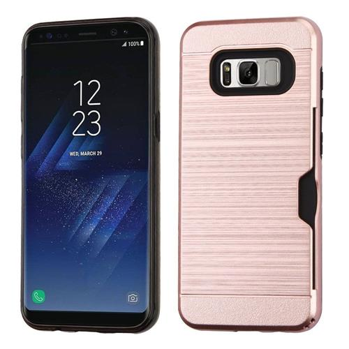 Insten Hard Hybrid Brushed TPU Cover Case w/card holder For Samsung Galaxy S8 Plus - Rose Gold/Black