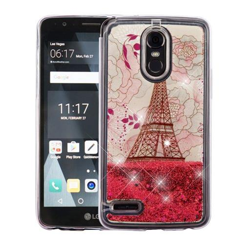 Insten Quicksand Eiffel Tower Hard Glitter TPU Case For LG Stylo 3 - Rose Gold