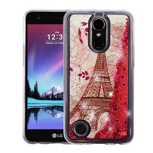 Insten Quicksand Eiffel Tower Hard TPU Case For LG Harmony/K10 (2017)/K20 Plus/K20 V, Rose Gold