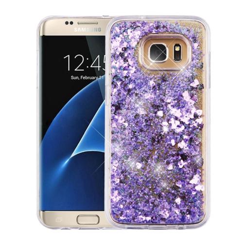 Insten Quicksand Hearts Hard Glitter TPU Cover Case For Samsung Galaxy S7 Edge - Purple