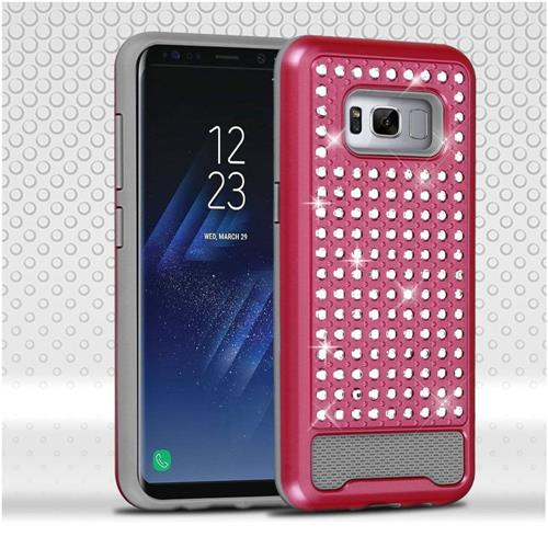Insten Hard Hybrid Rhinestone Silicone Case For Samsung Galaxy S8 Plus - Hot Pink/Gray