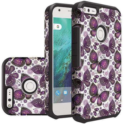 Insten Butterflies Hard Hybrid Rubberized Silicone Case For Google Pixel XL - White/Purple