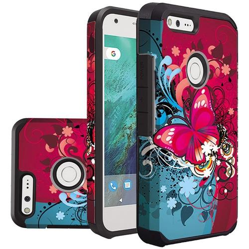 Insten Butterfly Bliss Hard Hybrid Rubber Silicone Cover Case For Google Pixel - Red/Blue