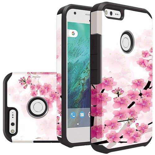 Insten Sakura Cherry Blossom Hard Hybrid Rubber Coated Silicone Case For Google Pixel - White/Pink