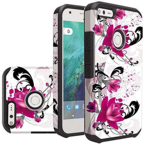 Insten Lily Hard Hybrid Rubber Coated Silicone Cover Case For Google Pixel - White/Hot Pink