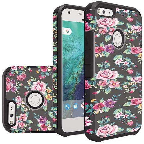 Insten Colorful Roses Floral Hard Dual Layer Rubberized Silicone Case For Google Pixel - Black/Pink