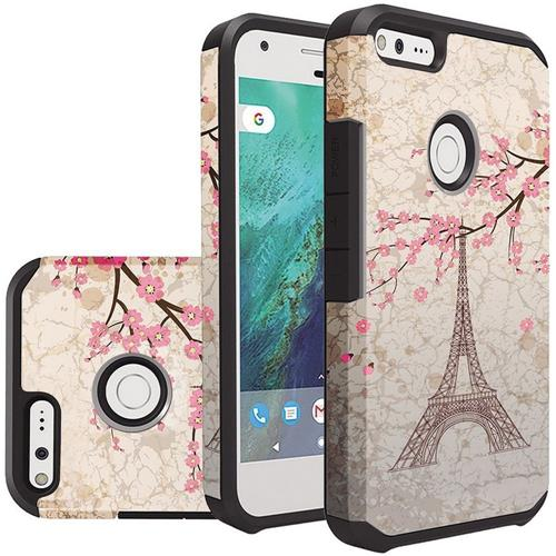 Insten Eiffel Tower Hard Hybrid Silicone Cover Case For Google Pixel - Light Brown/Pink