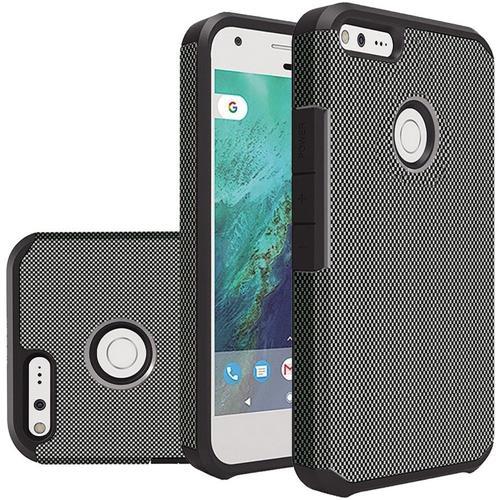Insten Carbon Fiber Hard Hybrid Rubber Silicone Case For Google Pixel XL - Black
