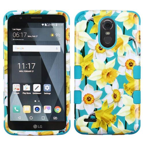 Insten Tuff Spring Daffodils Hard Dual Layer Rubber Silicone Cover Case For LG Stylo 3 - Yellow/Blue