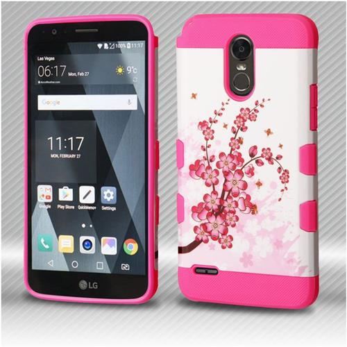 Insten Tuff Spring Flowers Hard Hybrid Rubber Coated Silicone Cover Case For LG Stylo 3 - White/Pink