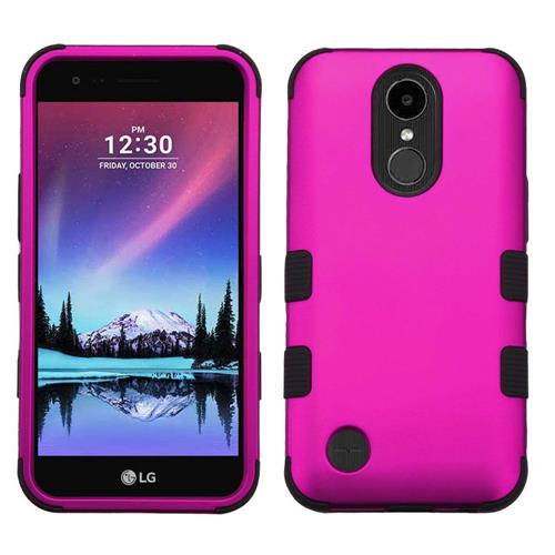 Insten Tuff Hard Dual Layer Rubber Silicone Case For LG Harmony/K10 (2017)/K20 Plus - Hot Pink/Black
