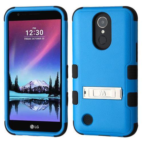 Insten Hard Hybrid Rubberized Silicone Case w/stand For LG Harmony/K10 (2017)/K20 Plus, Blue/Black